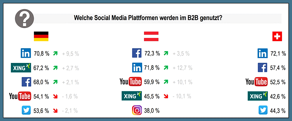 Welche Social-Media Plattformen werden im B2B genutzt?